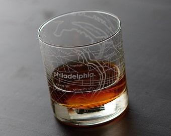 Philadelphia Maps Rocks Glass