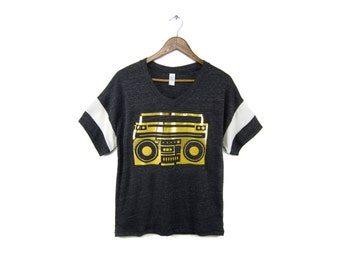 Boom Box Tee - Oversized Fit V-Neck Drop Sleeve Colorblock Tshirt - in Heather Black & Metallic Gold Foil - Women's S-XL