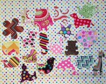 20 Piece DIY Fabric Iron On Appliqué Set For Girls Baby Shower Onesie Decorating Shower Idea Baby Girl