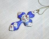 Vintage Enameled Cross Pendant Blue White Enamel Painted Birds BoHo Style Necklace