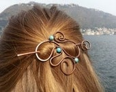 Blue jasper hair slide Boho hair barrette Bohemian style hair accessories Spiral hair pin Spiral jewelry Womens accessories Womens gift