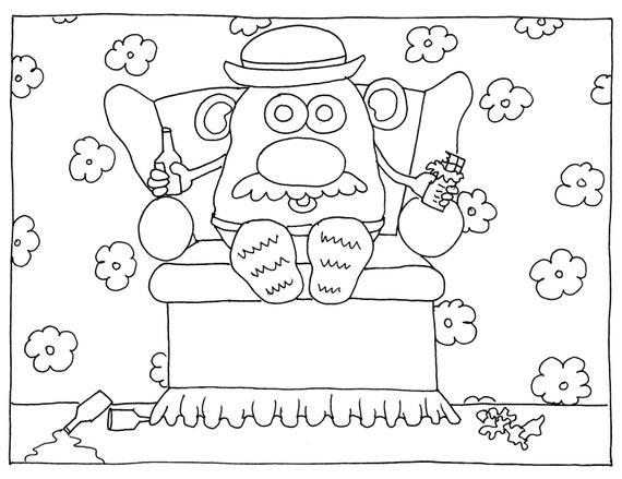 mr  potato head couch potato funny adult coloring page by