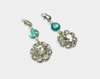 Upcycled Rhinestone Earrings / Handmade with teal beads and Vintage Rhinestone earrings / Dangle earrings / Winter / fun / birthday gift