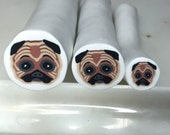 "Pug Dog cane polymer clay,  raw cane unbaked, 1/2"" diameter, handmade, ready to use"
