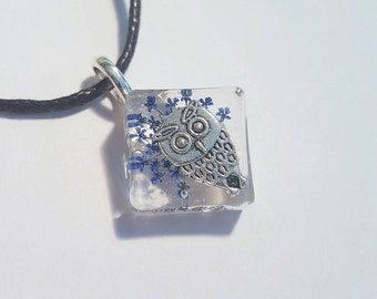 Owl Charm Blue Flowers  Resin Pendant Necklace Nature Jewelry Animal Small  Real Queen Annes Lace Bohemian Jewelry