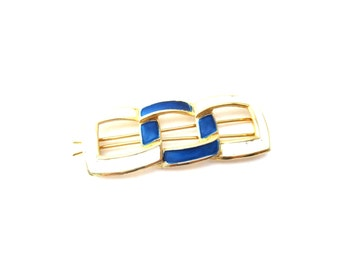 Rectangular Shape Vintage Nautical Knot Blue and White Enamel Gold Tone Metal Unmarked Hair Accessory / Hair Barrette