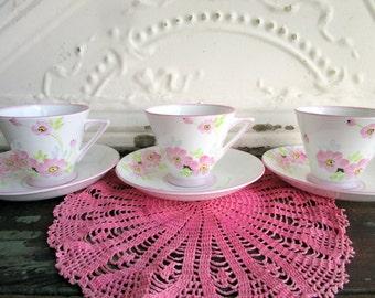 Art Deco  Vintage English Teacup Saucer set 3 Hand painted Pink flowers