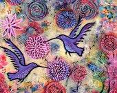"Hummingbird Archival Print - A Hummingbird Garden - 8"" x 8"""