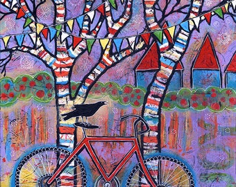 Whimsical Bike Art Print with Raven, Red Bicycle Art with Colorful Trees and Prayer Flags