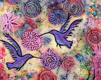 """Hummingbird Art Print, Small Bird Art Print, Colorful Art titled A Hummingbird Garden - 8"""" x 8"""""""