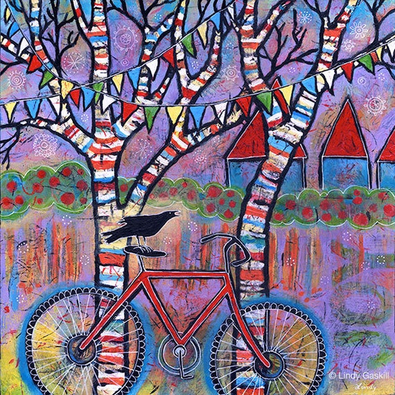Whimsical bike art print with raven red bicycle art with for Bicycle painting near me