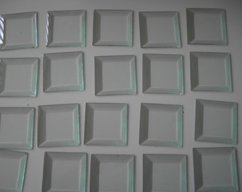 """Glass Squares-Vintage 3"""" Beveled Glass- 20 pieces"""