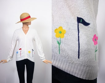Vintage Novelty Print Sweater / 70s Knit Cardi / 1970s Cardigan / Embroidered Applique Top / Golf / Kitsch / Medium