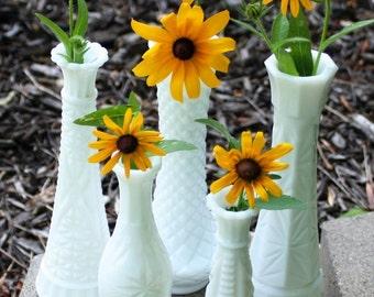 Five Milk Glass bud vases, Instant Collection, Wedding table decor, Vintage Flower Vases