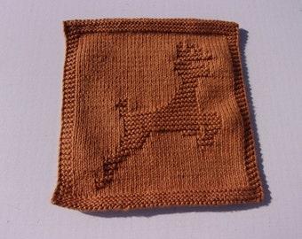 Deer, Jumping Buck, Tan Colored Handknit Dishcloth or Washcloth