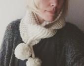 Snowpuff pompom scarf - knitting pattern - pdf