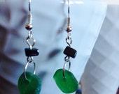 Green Irish Sea Slass Earrings w/ hematite