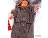 Vintage Knitting Pattern Baby Cocoon  Sleeping Bag Sleep Sack Poncho Hoodie INSTANT DOWNLOAD PDF