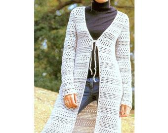 Crochet Pattern Vintage  Long Line Cardigan   Waistcoat Jacket Vest  Beach Cover up Tunic   INSTANT DOWNLOAD PDF