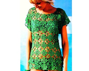 Vintage Crochet Pattern  Motif Tunic Top Beach Cover Up  INSTANT DOWNLOAD PDF