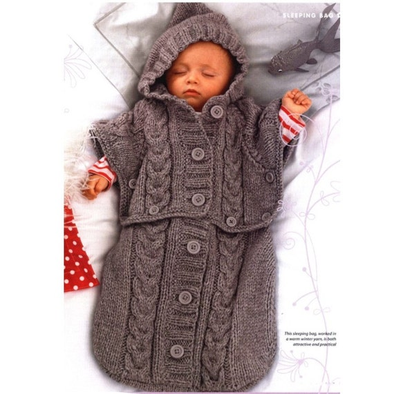 Vintage Knitting Pattern Baby Cocoon Sleeping Bag Sleep Sack Poncho Hoodie IN...