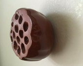 Red Clay and Brown Ceramic Holey Lotus Wall Art Pod