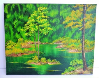 Bob Ross Style Oil Painting Landscape Scenery Wilderness Lake Yellow Green Emerald Waters Trees, Black Gesso 16 x 20 Stretched Canvas