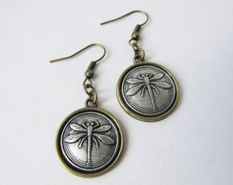 Antique Bronze Dragonfly Hook Earrings