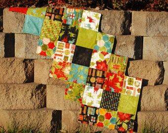 Holiday Quilted Table runner Jovial from Moda zig zag design 18 by 50 Quiltsy Handmade