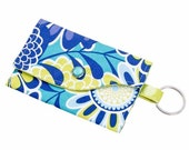 CLEARANCE SALE Mini Wallet with Wristlet or Lanyard Options -- Blue and Green Flowers
