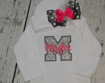 PERSONALIZED Coming Home Newborn Gown and Cap with Maroubu Bow Monogrammed