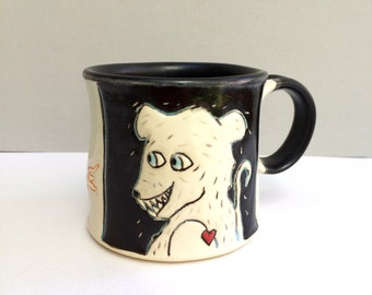 Rat Mug, Small, Black and White Rat Mug with Colorful Running Rats, Small Ceramic Coffee Mug or Tea Mug, Animal Pottery