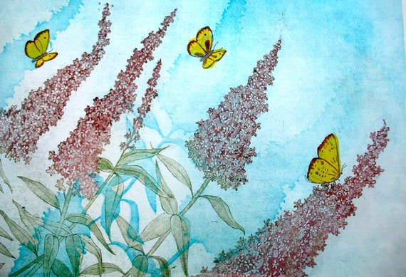 Summer Garden: wall art decor, nature garden flower, a hand pulled limited edition etching in color. Turquoise, purple, yellow.