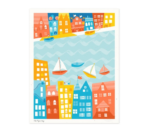 Whimsical Waterfront City Illustrated Art Print