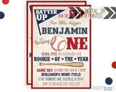 Vintage Baseball Birthday Invitation | Digital or Printed | Baseball Invite | Rookie Year Invitation | Rookie Invite | Baseball Party Invite