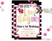 Ladybug Birthday Invitation | Digital or Printed | Gold Glitter Invitation | Lovebug Invitation |  Valentine's Invite | Ladybug Theme