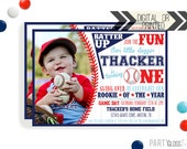 Baseball Birthday Invitation   Digital or Printed   Baseball Invitation   Rookie Year Invitation    Rookie Invite   Baseball Party Invite