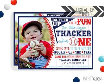 Baseball Birthday Invitation | Digital or Printed | Baseball Invitation | Rookie Year Invitation |  Rookie Invite | Baseball Party Invite