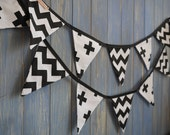 Children's Black and White Bunting. This strand is 3m long