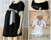 Maternity Hospital Gown/black with tribal arrow accents/ with option to add Milk Breaks and Monogram
