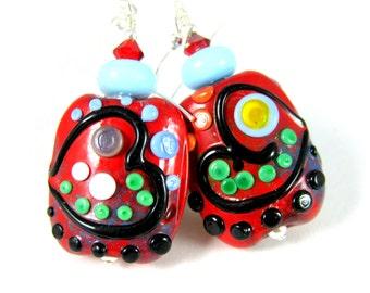 Red Graffiti Heart Earrings, Colorful Glass Earrings, Whimsical Jewelry, Lampwork Earrings, Abstract Statement Earrings, Hippie Earrings