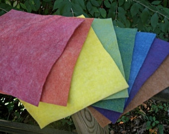 Rainbow Felt with Earth Tone---Wool-Rayon Felt-- 9 1/2  X 9 1/2 Inches-- 8 Sheets--Plant Dyed