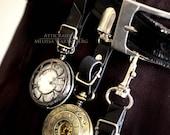 Steampunk Pocket Watch Holder - Black - Three piece set