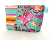 Tula Pink Fabric Large Cosmetic Bag Zipper Pouch Padded Makeup Bag Cotton Zip Pouch Chipper Chipmunk Stripe Hot Pink Orange Mint Sorbet