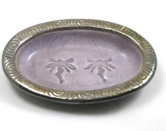 SOAP DISH lavender Fairy  spiralCeramic Pottery