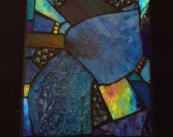 Stained Glass Mosaic Panel in Blue