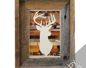 SMALL rustic deer head framed art- made from recycled magazines, deer, modern, silhouette, hunting, colorful, recycled, brown, wood,wall art