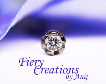"""Nose Screw or Tragus stud  """"Baby Thistle Bud"""" - Fine White 1.5mm Diamond set in 18k SOLID White Gold"""