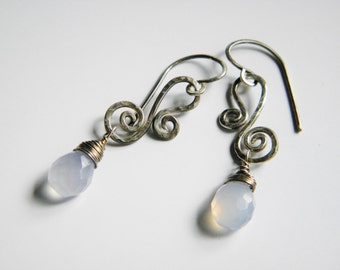 Blue Chacedony Sterling Silver Scroll Earrings-faceted dangles-handcrafted