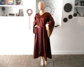 Burgundy Medieval Gown with Flared Sleeves